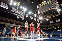 NORFOLK, VA--Head Coach Tara VanDerveer works on formations with her team during an off-day practice session at the Ted Constant Convocation Center at Old Dominion University in Norfolk, VA in the 2012 NCAA Championships. The Cardinal will play West Virginia on Monday, March 19 to qualify for the West Regionals in Fresno.