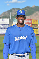 Abdiel Velasquez (40) of the Ogden Raptors poses for a photo during media day on June 14, 2014 at Lindquist Field in Ogden, Utah. (Stephen Smith/Four Seam Images)