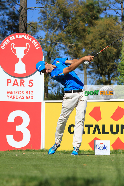 Guido Migloiozzi (ITA) on the 3rd tee during Thursday's Round 1 of The Open De Espana at The PGA Catalunya Resort. 15th May 2014.<br /> Picture:  Thos Caffrey / www.golffile.ie