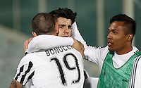 Calcio, Serie A: Fiorentina vs Juventus. Firenze, stadio Artemio Franchi, 24 aprile 2016.<br /> Juventus&rsquo; Alvaro Morata, center, celebrates with teammates Leonardo Bonucci, left, and Alex Sandro, after scoring the winning goal during the Italian Serie A football match between Fiorentina and Juventus at Florence's Artemio Franchi stadium, 24 April 2016. <br /> UPDATE IMAGES PRESS/Isabella Bonotto