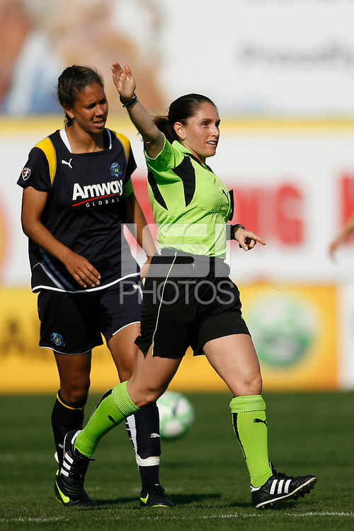 Referee Sandra Serafini. The Los Angeles Sol defeated Sky Blue FC 2-0 during a Women's Professional Soccer match at TD Bank Ballpark in Bridgewater, NJ, on April 5, 2009. Photo by Howard C. Smith/isiphotos.com