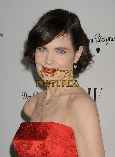 Elizabeth McGovern.W Magazine's 69th Annual Golden Globe Awards Celebration held at The Chateau Marmont, West Hollywood, California, USA..13th January 2012.headshot portrait red strapless  lipstick necklace .CAP/ROT/TM.©Tony Michaels/Roth Stock/Capital Pictures