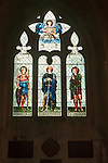 Stained glass window in Malmesbury abbey, Wiltshire, England, UK