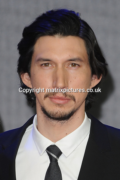 NON EXCLUSIVE PICTURE: PAUL TREADWAY / MATRIXPICTURES.CO.UK<br /> PLEASE CREDIT ALL USES<br /> <br /> WORLD RIGHTS<br /> <br /> American actor Adam Driver attending the European Premiere of Star Wars: The Force Awakens in Leicester Square, in London.<br /> <br /> DECEMBER 16th 2015<br /> <br /> REF: PTY 153700