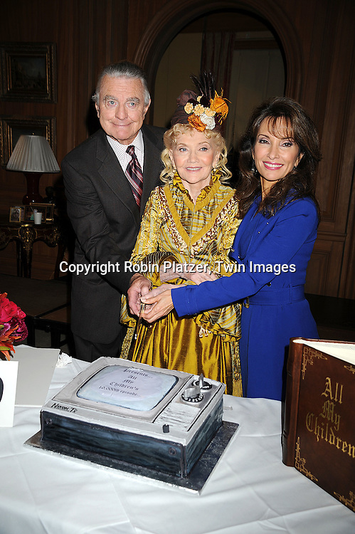 "Ray MacDonnell, Agnes Nixon and Susan Lucci cutting the cake..at he taping of the 10,000th episode of ""All My Children"" on October 16, 2008 at their studio. ....Robni Platzer, Twin Images"