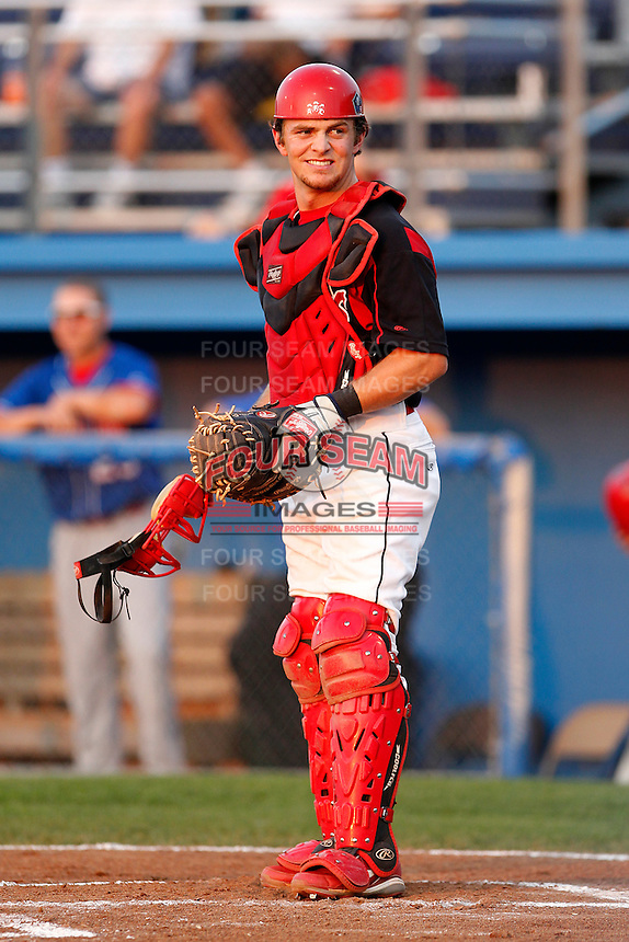 Batavia Muckdogs catcher Casey Rasmus #5 during a game against the Auburn Doubledays at Dwyer Stadium on September 3, 2011 in Batavia, New York.  Auburn defeated Batavia 2-1.  (Mike Janes/Four Seam Images)