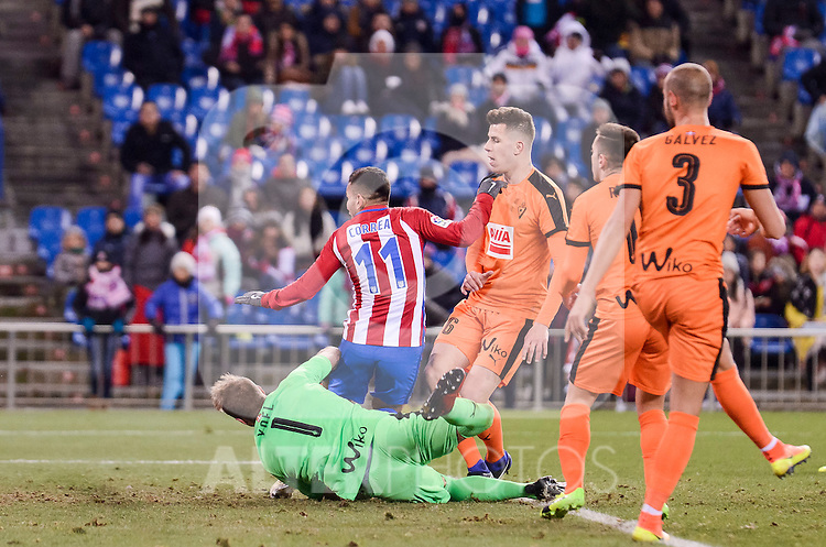 Atletico de Madrid's Ángel Martín Correa and SD Eibar's Yoel Rodriguez, Cristian Rivera and Alejandro Galvez during Copa del Rey match between Atletico de Madrid and SD Eibar at Vicente Calderon Stadium in Madrid, Spain. January 19, 2017. (ALTERPHOTOS/BorjaB.Hojas)