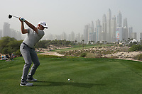 Sergio Garcia (ESP) in action on the 8th tee during the first round of the Omega Dubai Desert Classic, Emirates Golf Club, Dubai, UAE. 24/01/2019<br /> Picture: Golffile | Phil Inglis<br /> <br /> <br /> All photo usage must carry mandatory copyright credit (&copy; Golffile | Phil Inglis)