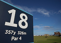 From the 18th tee looking back to the R&A Golf Club of St.Andrews building during the practice days before the 2014 Alfred Dunhill Links Championship, The Old Course, St Andrews, Fife, Scotland. Picture:  David Lloyd / www.golffile.ie