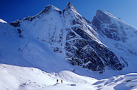 Skiers visit Arrigetch Peaks, winter in the Brooks Range at Gates of the Arctic National Park, Alaska, TomBean_Pix_0730.