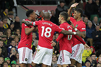 Manchester United celebrate after Anthony Martial (L) scored to make it 3-0 during the Premier League match between Norwich City and Manchester United at Carrow Road on October 27th 2019 in Norwich, England. (Photo by Matt Bradshaw/phcimages.com)<br /> Foto PHC/Insidefoto <br /> ITALY ONLY