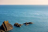 Rocks along the rugged coastline in Cornwall, UK