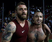 "Calcio, Serie A: Empoli vs Roma. Empoli, stadio ""Carlo Castellani"" 13 settembre 2014. <br /> Roma midfielders Daniele De Rossi and Radja Nainggolan, of Belgium, right, celebrate at the end of the Italian Serie A football match between Empoli and AS Roma at Empoli's ""Carlo Castellani"" stadium, 13 September 2014. AS Roma won 1-0.<br /> UPDATE IMAGES PRESS/Isabella Bonotto"