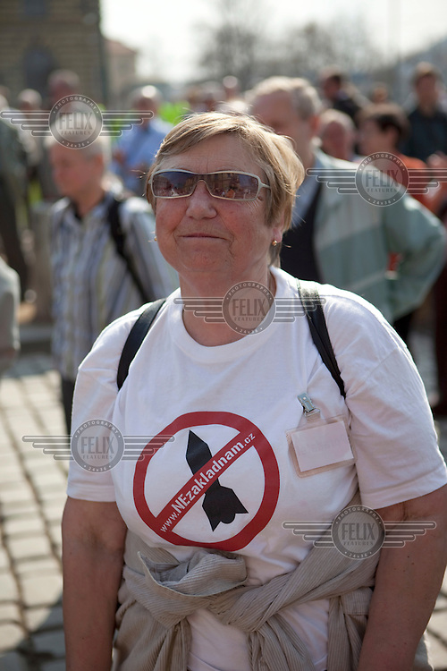 Protestor against the planned US military radar base in the Czech Republic on the day of Barack Obama's arrival in Prague.