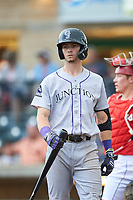 Grand Junction Rockies Brenton Doyle (29) at bat during a Pioneer League game against the Billings Mustangs at Dehler Park on August 14, 2019 in Billings, Montana. Grand Junction defeated Billings 8-5. (Zachary Lucy/Four Seam Images)