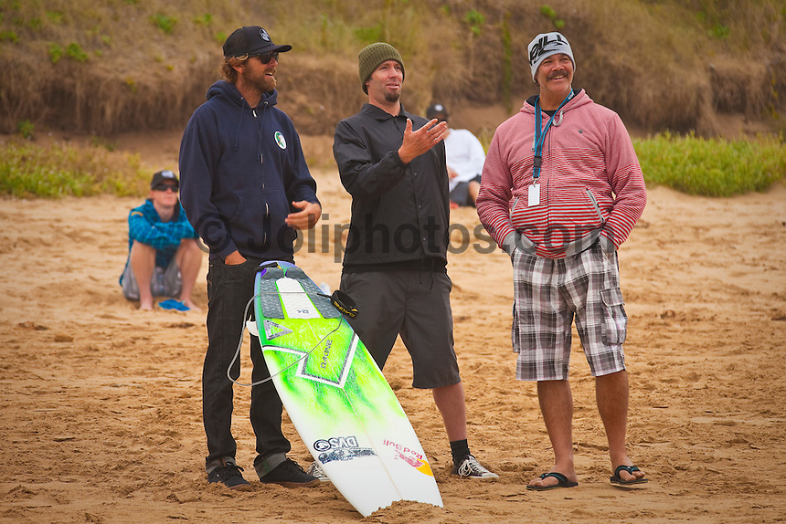 "Garth from O'Neill, Travis from Channel Islands Surfboards and Graham Smith (ZAF) THIRTEENTH BEACH, Victoria/Australia (Tuesday, April 6, 2010) - The Rip Curl Pro Bells Beach relocated to nearby Thirteenth Beach for Round 2 of competition which commenced at 9am today..Stop No. 2 of 10 on the 2010 ASP World Tour, the Rip Curl Pro completed the opening round of competition over the weekend at the primary site of Bells Beach. However, with small surf on offer at Bells and lack of contestable banks available at the secondary site of Johanna, event organizers have arranged to run today in the punchy two-to-three foot (1 metre) peaks of Thirteenth Beach..""We've seen a slight increase in surf throughout the morning and we'll be commencing competition at 9am,"" Damien Hardman, Rip Curl Pro Contest Director, said. ""It's not ideal, but it looks like it will be our best opportunity to run and we're hoping conditions improve throughout the day."".First up this morning was Bede Durbidge (AUS), 27, who defeated wildcard Stuart Kennedy (AUS), 20. The upsets of the round were the elimination of the Hobgood brothers CJ and Damien..CJ lot to Brazilian wildcard Gabriel Medina while Neco Padaratz (BRA) defeated Damien..Dane Rynolds (USA) and Jordy Smith (ZAF) both advanced to Round 3..Photo: joliphotos.com"
