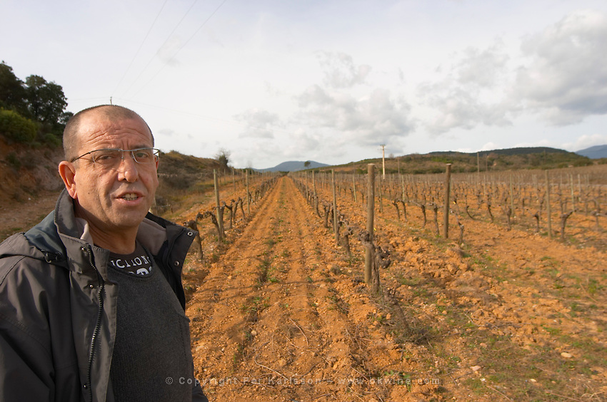 Marc Valette Domaine de Canet-Valette Cessenon-sur-Orb St Chinian. Languedoc. Owner winemaker. The vineyard. France. Europe.