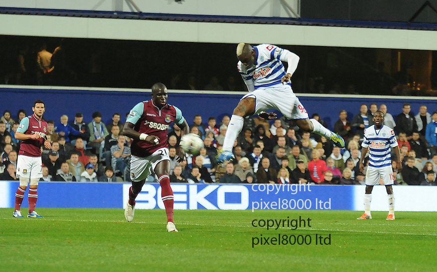 Djibril Cisse of Queens Park Rangers has an attempt on goal during the Barclays Premier League match between West Ham United and Queens Park Rangers at Loftus Road on Monday ,01 October 2012 in London, England. Picture Zed Jameson/pixel 8000 ltd