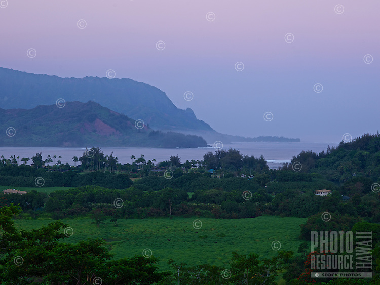 A sunrise view of a lush pasture with trees, with the ocean and mountains in the distance, Hanalei, Kaua'i.