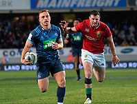 Ihaia West leaves Robbie Henshaw in his wake as he scores the matchwinner during the 2017 DHL Lions Series rugby union match between the Blues and British & Irish Lions at Eden Park in Auckland, New Zealand on Wednesday, 7 June 2017. Photo: Dave Lintott / lintottphoto.co.nz