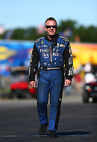 Aug 21, 2016; Brainerd, MN, USA; NHRA  funny car driver Tommy Johnson Jr during the Lucas Oil Nationals at Brainerd International Raceway. Mandatory Credit: Mark J. Rebilas-USA TODAY Sports
