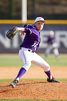 High Point Panthers relief pitcher Jeremy Johnson (14) in action against the Coastal Carolina Chanticleers at Willard Stadium on March 15, 2014 in High Point, North Carolina.  The Chanticleers defeated the Panthers 1-0 in game one of a double-header.  (Brian Westerholt/Four Seam Images)