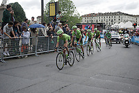 Rigoberto Uran (COL/Cannondale) escorted safely through the streets of Torino  by his teammates <br /> <br /> stage 21: Cuneo - Torino 163km<br /> 99th Giro d'Italia 2016