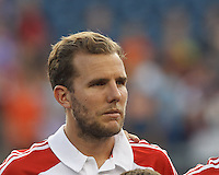 Toronto FC forward Jeremy Brockie (22). In a Major League Soccer (MLS) match, Toronto FC (white/red) defeated the New England Revolution (blue), 1-0, at Gillette Stadium on August 4, 2013.
