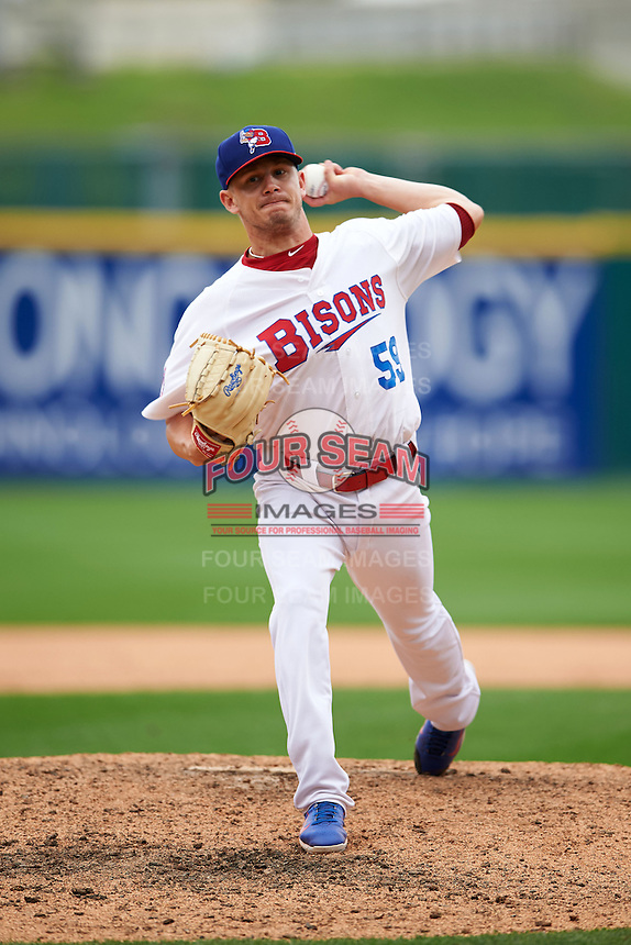 Buffalo Bisons pitcher Rob Rasmussen (59) delivers a warmup pitch during a game against the Columbus Clippers on July 19, 2015 at Coca-Cola Field in Buffalo, New York.  Buffalo defeated Columbus 4-3 in twelve innings.  (Mike Janes/Four Seam Images)