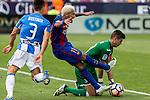 FC Barcelona's Neymar Santos Jr Club Deportivo Leganes's Unai Bustinza Jon Ander Serantes during the match of La Liga between Club Deportivo Leganes and Futbol Club Barcelona at Butarque Estadium in Leganes. September 17, 2016. (ALTERPHOTOS/Rodrigo Jimenez)