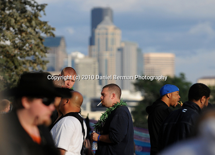Seattle Hempfest - August 21-22, 2010 in Myrtle Edwards Park. The medical marijuana, hemp education, and marijuana reform festival is the largest of its kind in the world. Some 100,000 people attend the event each of its two days. Photo by Seattle photographer Daniel Berman