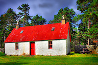 A traditional Scottish cottage with a red corrugated iron roof near the Linn of Dee, Braemar, Royal Deeside.  dSider Magazine, photography courses, photography by Bill Bagshaw, www.dsider.co.uk