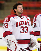 Kyle Richter (Harvard - 33) - Sweden's Under-20 team defeated the Harvard University Crimson 2-1 on Monday, November 1, 2010, at Bright Hockey Center in Cambridge, Massachusetts.