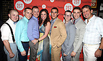 F. Michael Haynie , Adam Halpin, Steven Booth, Lindsay Mendez, Josh Segarra, Nick Blaemire, Derek Klena & James Moye .attending the after Party for Off-Broadway Opening Night Performance of Second Stage Theatre's 'Dogfight' at HB Burger in New York City.