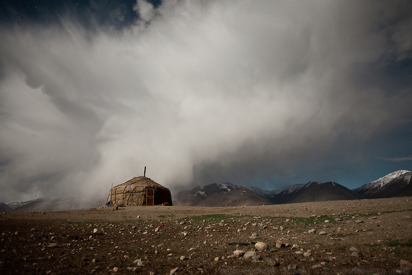 Yurt at night..Summer camp of Muqur, Er Ali Boi's place...Trekking through the high altitude plateau of the Little Pamir mountains (average 4200 meters) , where the Afghan Kyrgyz community live all year, on the borders of China, Tajikistan and Pakistan.