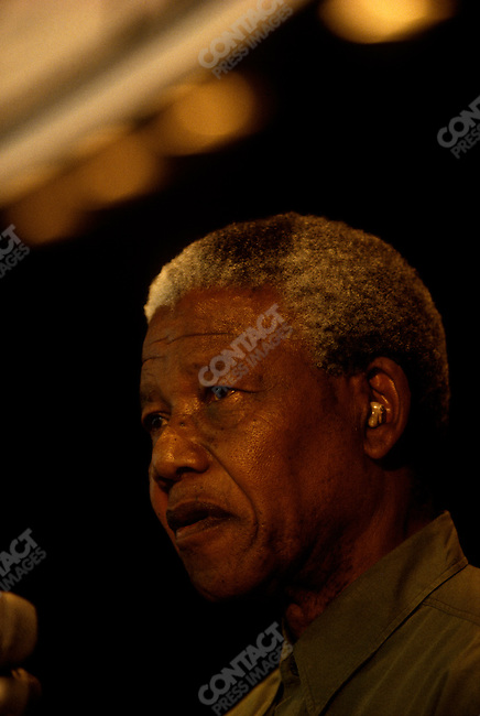 Nelson Mandela, leader of the African National Congress (ANC), at an ANC campaign rally at the University of Natal. Natal, South Africa, April 1994.