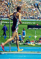 Iowa native and Southwest Missouri State University senior Blake Boldon runs a victory lap after winning the University and College 1500-meters at the 2003 Drake Relays in Des Moines, Iowa, April 23-26. Boldon finished in 3:45.20 for the victory.
