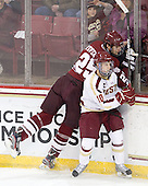 Oleg Yevenko (UMass - 25), Danny Linell (BC - 10) - The Boston College Eagles defeated the University of Massachusetts-Amherst Minutemen 3-2 to take their Hockey East Quarterfinal matchup in two games on Saturday, March 10, 2012, at Kelley Rink in Conte Forum in Chestnut Hill, Massachusetts.