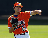 Clemson pitcher Matt Zoltak (20) warms up prior to a game between the Clemson Tigers and Mercer Bears on Feb. 23, 2008, at Doug Kingsmore Stadium in Clemson, S.C. Photo by: Tom Priddy/Four Seam Images