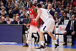 Real Madrid's Jonas Maciulis and EA7 Emporio Armani Milan's Rakim Sanders during Turkish Airlines Euroleage match between Real Madrid and EA7 Emporio Armani Milan at Wizink Center in Madrid, Spain. January 27, 2017. (ALTERPHOTOS/BorjaB.Hojas)