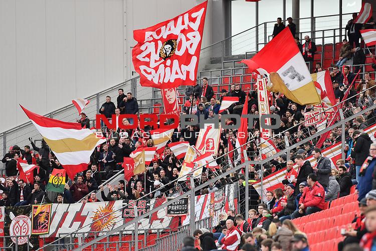28.01.2018, BayArena, Leverkusen, GER, 1.FBL, Bayer 04 Leverkusen vs FSV Mainz 05,, im Bild Fankurve / Fans / Fanblock / FSV Mainz 05 <br /> <br /> <br /> Foto &copy; nordphoto / Mauelshagen