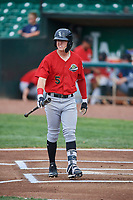 Romy Gonzalez (5) of the Great Falls Voyagers at bat against the Ogden Raptors at Lindquist Field on August 21, 2018 in Ogden, Utah. Great Falls defeated Ogden 14-5. (Stephen Smith/Four Seam Images)