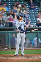Taylor Jones (31) of the Round Rock Express bats against the Salt Lake Bees at Smith's Ballpark on June 10, 2019 in Salt Lake City, Utah. The Bees defeated the Express 9-7. (Stephen Smith/Four Seam Images)