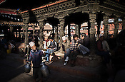 Local Nepalese seen enjoying the weekend in Patan Darbar in Patan in capital Kathmandu, Nepal