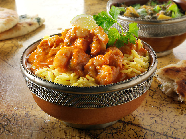 Prawn Makhani curry & rice, Indian food recipe  pictures, photos & images