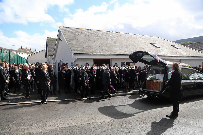 """COPY BY TOM BEDFORD<br />Pictured: Mourners leave after the service at the Jerusalem Baptist Chapel in Merthyr Tydfil, Wales, UK. Friday 18 August 2017<br />Re: The funeral of a toddler who died after a parked Range Rover's brakes failed and it hit a garden wall which fell on top of her will be held today at Jerusalem Baptist Chapel in Merthyr Tydfil.<br />One year old Pearl Melody Black and her eight-month-old brother were taken to hospital after the incident in south Wales.<br />Pearl's family, father Paul who is The Voice contestant and mum Gemma have said she was """"as bright as the stars""""."""