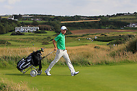Rowan Lester (IRL) waking off the 15th tee during the Afternoon Singles between Ireland and Wales at the Home Internationals at Royal Portrush Golf Club on Thursday 13th August 2015.<br /> Picture:  Thos Caffrey / www.golffile.ie