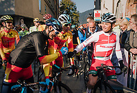 Alejandro Valverde (ESP/Movistar team) getting a fist-bump from Vasil Kiryienka (BLR/SKY) before the race start<br /> <br /> MEN ELITE ROAD RACE<br /> Kufstein to Innsbruck: 258.5 km<br /> <br /> UCI 2018 Road World Championships<br /> Innsbruck - Tirol / Austria
