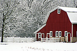 Red barn in Wisconsin during winter