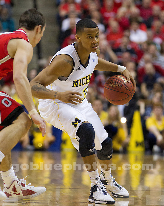 The University of Michigan men's basketball team fell to Ohio State, 75-55, in the semifinals of the Big Ten Tournament at Bankers Life Fieldhouse in Indianapolis, Ind., on March 10, 2012.